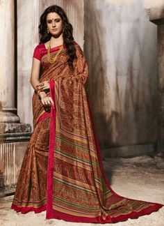 Delightful Rust Fancy Art Silk Red Patch Border Designer  Saree http://www.angelnx.com/Sarees/Party-Wear-Sarees