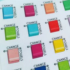 "Mark your daily and weekly chores with these pretty and functional ""change towels"" planner stickers! Matching ""change sheets"" stickers are available."