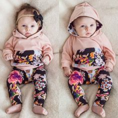 Autumn Spring Floral Baby Kids Clothing Sets Infant Newborn Baby Boy Girl Pink Hooded Tops Long Pants Leggings 2pcs Set 0-24M