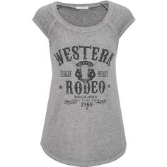 maurices Western Rodeo Graphic Tee ($26) found on Polyvore featuring tops, t-shirts, grey, scoopneck tee, graphic design t shirts, embellished tops, scoop neck tee and grey t shirt