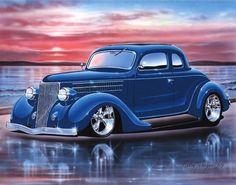 1936 Ford 5 Window Coupe Streetrod Car Art Print 11x14 36