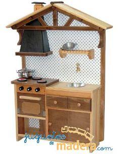 Cocina de madera rústica para niños y niñas