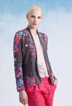 Collar Jacket, Floral Pattern - Jacket | Ivko Woman