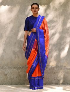 Orange Blue Pink Handwoven Silk Saree Kanjivaram Sarees, Kanchipuram Saree, Silk Sarees, India Fashion, Ethnic Fashion, Online Saree Purchase, Plain Saree, Trendy Sarees, Beauty