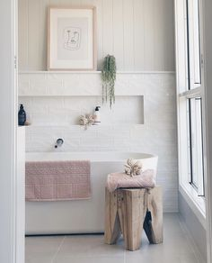 Boho Scandinavian ideas for home // all white bathroom design // small bathroom design Ensuite Bathrooms, Boho Bathroom, Bathroom Trends, Laundry In Bathroom, Bathroom Renovations, Small Bathroom, Bathroom Ideas, Neutral Bathroom, Bathroom Designs