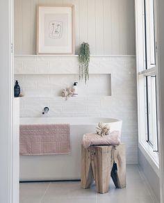 Boho Scandinavian ideas for home // all white bathroom design // small bathroom design Ensuite Bathrooms, Boho Bathroom, Bathroom Trends, Laundry In Bathroom, Bathroom Renovations, Small Bathroom, Master Bathroom, Bathroom Ideas, Neutral Bathroom