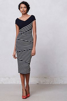 Anthropologie Frenchstripe column dress - dreaming about wearing this for summer evening outings or work with nude pumps Looks Style, Style Me, Retro Style, Dress Outfits, Fashion Outfits, Womens Fashion, Women's Dresses, Dress Skirt, Dress Up
