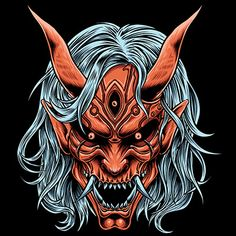 Japanese Oni/Devil Hannya mask with great detail, right choice for your clothing brand/ apparel!-high quality artwork 4500 x 5400 pixel cm x on dark and bright color fabric- 5 color Samurai Mask Tattoo, Hannya Mask Tattoo, Dragon Tattoo Back Piece, Dragon Sleeve Tattoos, Japanese Hannya Mask, Oni Art, Japanese Dragon Tattoos, Japanese Demon Mask Tattoo, Oni Demon