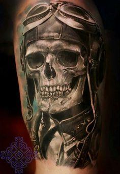 Skull pilot tattoo