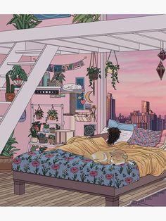 Sweet Dreams Art Print by Kelsey Smith - X-Small Aesthetic Art, Aesthetic Anime, Aesthetic Bedroom, Pretty Art, Cute Art, Arte Alien, Bedroom Drawing, Japon Illustration, Scenery Wallpaper