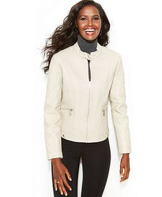 Kenneth Cole Reaction Faux-Leather Quilted Moto Jacket