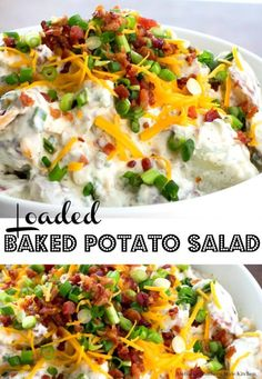 Loaded baked potato salad 3 lb small red potatoes, quartered 1 tsp salt 1 cup real mayonnaise ½ cup sour cream or unflavored greek yogurt ½ cup buttermilk 1 Baked Red Potatoes, Small Red Potatoes, Vaping, Loaded Baked Potato Salad, Potato Salad With Bacon, Sour Cream Potato Salad, Baked Potato Bar, Easy Potato Salad, Salad Recipes Video