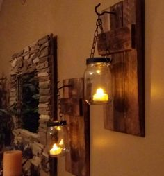 Rustic Mason Jar Wood Candle Holder, sconce candle holder, Rustic Lantern, Mason Jar wood candle, Sold Separately priced 1 each Rustic Lanterns, Rustic Candles, Rustic Mason Jars, Painted Mason Jars, Mason Jar Candle Holders, Rustic Candle Holders, Mason Jar Candles, Wood Sconce, Candle Sconces