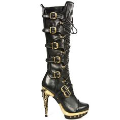 New Rock Boots Black and Gold Punk Boots, Boots Platform Stiletto Sole - : Platform Stilettos, Platform Boots, High Heel Boots, Bootie Boots, Shoe Boots, Gothic Boots, Punk Boots, H&r London, Black Lace Boots