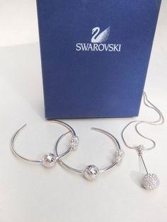 SWAROVSKI SILVER PLATED & CRYSTAL NECKLACE & HOOP EARRINGS SET IN BOX - Whispers Dress Agency - Womens Jewellery - £65