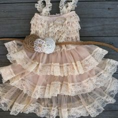 Rustic Flower Girl Lace Pettidress/Rustic Flower Girl Outfit/Wheat Cream Flowergirl/Country Wedding/Burlap/Jute Belt