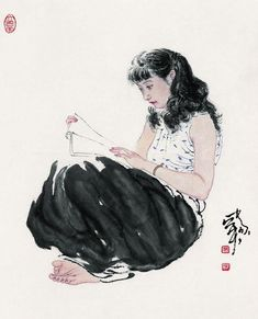 Art by He Jiaying - Rosie Chuong Japanese Prints, Japanese Art, Scientific Drawing, Tinta China, Reading Art, Water Art, China Art, Chinese Painting, Life Drawing