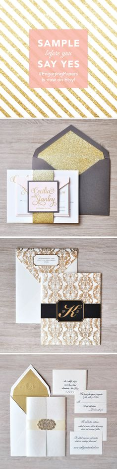 Get your hands on @engagingpapers' invitations...literally! Their new Etsy shop lets you sample these luxe designs before you commit
