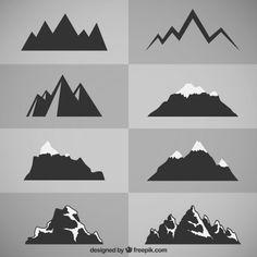 Silhouettes Vectors, Photos and PSD files Mountain Mural, Mountain Paintings, Mountain Landscape, Logo Montagne, Silhouettes, Mountain Silhouette, Illustration Vector, Mountain Tattoo, Logo Design