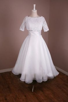 Two piece vintage inspired tea length wedding dress