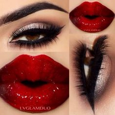 Gold Shimmer Smokey Eye Makeup - Winged Eyeliner - Red Lips