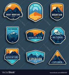 Illustration of Set of nine mountain travel emblems. Camping outdoor adventure emblems, badges and logo patches. Forest camp labels in vintage style vector art, clipart and stock vectors. Berg Logos, Logo Voyage, Camp Logo, Inspiration Logo Design, Outdoor Logos, Logos Retro, Vintage Logos, Badges, Mountain Illustration