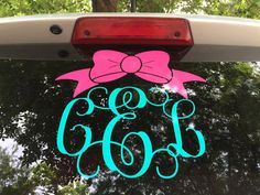Bow Monogram Car Decal - Monogram Bow Decal - Monogram Car Decal - Monogram Decal - Car Decal - Vine Monogram Car Decal by CandDVinylDesigns on Etsy https://www.etsy.com/listing/236998203/bow-monogram-car-decal-monogram-bow