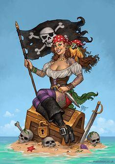 """Treasure Island"" by Matt Dixon Pirate Art, Pirate Skull, Pirate Life, Pirate Wench, Pirate Woman, The Pirates, Pirate Tattoo, Bd Comics, Treasure Island"