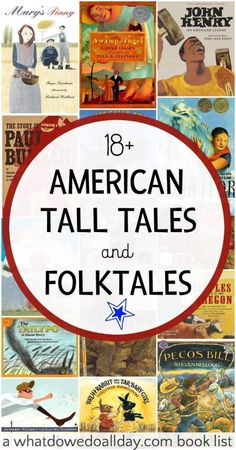 American folktales and tall tales. A picture book list for kids.