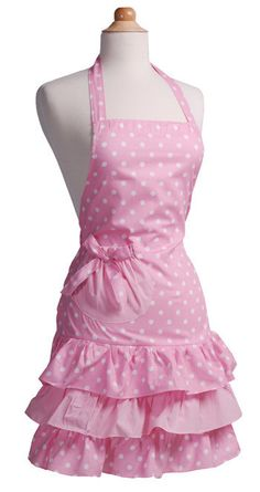 pink flirty apron with white polka dots and vintage layered frills  $15.69