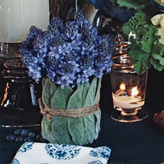 Brides Magazine: Bouquets of bluebells wrapped in lamb's ear & tied with jute twine by Lewis Miller