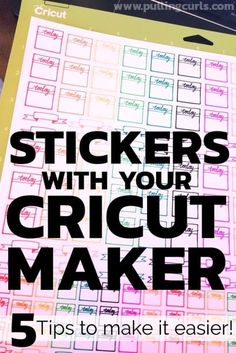 Cricut Planner Sticker Tips Making stickers with the Cricut Maker is harder than it sounds. Here are 5 tips to help you! via Pulling Curls How To Make Stickers, Homemade Stickers, How To Make Labels, Making Stickers, Diy Stickers, Cricut Craft Room, Cricut Vinyl, Cricut Air, Cricut Explore
