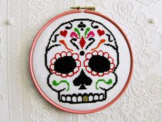 Sugar Skull by stitchFIGHT, via Flickr  I really need to start doing more snarky xstitch...