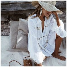 $12.75 - Bikini Cover Up Lace Hollow Crochet Swimsuit Beach Dress Women White One Size #ebay #Fashion