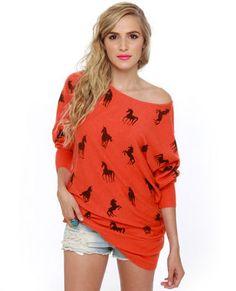 Mod Cloth: Unique-orn Orange Unicorn Print Sweater Dress
