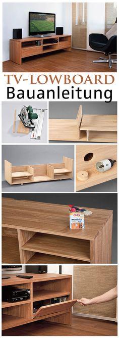 Wer seinen Fernseher nicht an die Wand hängen will, braucht einen passenden Unterschrank dafür. Den kann man auch selbst bauen. Wir zeigen dir, wie man ein edles TV-Lowboard aus hochwertigem Holz Schritt für Schritt selbst baut.
