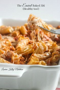 Close up of baked ziti in a white baking dish with a fork full of ziti and cheese right in the middle and text with the title above. Best Pasta Recipes, Cheesy Recipes, Easy Dinner Recipes, Real Food Recipes, Easy Meals, Cooking Recipes, Healthy Recipes, Rice Recipes, Baked Ziti Healthy