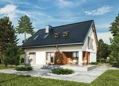"""""""Pastelowa tęcza"""" Murator M188 - zgrabny, kompaktowy dom z użytkowym poddaszem na dosyć wąską działkę. Prosta bryła na planie prostokąta i dwuspadowy dach sprawiają, że będzie tani w budowie."""