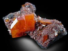 Mineral Photograph and Description of Wulfenite from Red Cloud Mine, Yuma, Arizona. Minerals And Gemstones, Rocks And Minerals, Red Cloud, Crystal Magic, Beautiful Rocks, Mineral Stone, Rocks And Gems, Stones And Crystals, Gem Stones