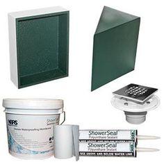 KBRS Discount Shower Kit Includes Corner Shower Seat, Shower Drain, Shower  Niche, Polyurethane