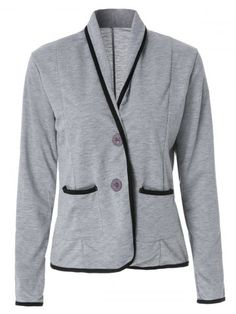 Graceful Shawl Collar Color Block Long Sleeve Blazer For Women
