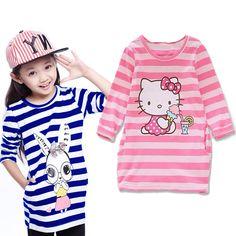 Nueva ropa de Las Muchachas del otoño casual vestidos niños vestido de la muchacha niños franja de Dibujos Animados hello kitty Pato Donald conejo vestido de niña de 2-8Y(China (Mainland))