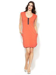 Three Dots French Terry Front Zipper Dress   Gilt.com