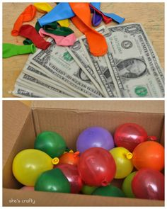 DIY Birthday Balloon Surprise from She's Crafty here.Fill a sturdy box with lightweight balloons filled with candy, cash etc… More details at the link.