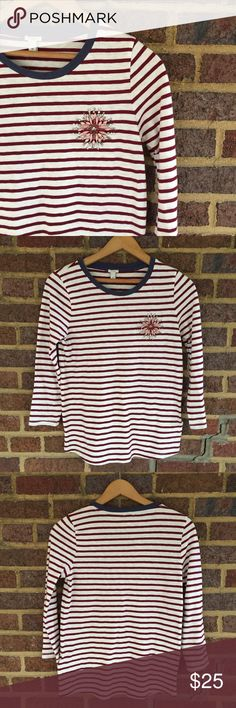 J. Crew Striped Ringer Tee 100% cotton striped 3/4 length short with beautiful crystal flower detail. Brand new, never worn. J. Crew Tops Tees - Long Sleeve