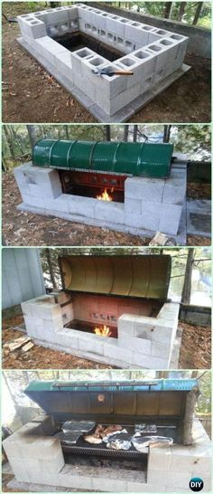 DIY Cinder Block Large Rotisserie Pit BBQ Grill Instruction - DIY Backyard Grill Projects #outdoorfirepit