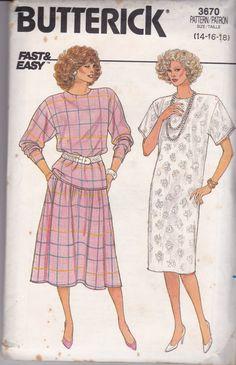 On Sale  1980s Butterick Sewing Pattern No 3670 by jennylouvintage
