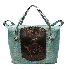 Croco bag with American Original Bronco logo and copper studs