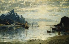 Une scène de Fjord Avec des voiliers de Adelsteen Normann (1848-1918, Norway)