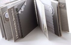 Beautiful grey and white mini album. Mini Albums Photo, Mini Photo Books, Mini Books, Mini Album Scrap, Mini Albums Scrapbook, Baby Scrapbook, Tutorial Scrapbook, Baby Album, Album Book